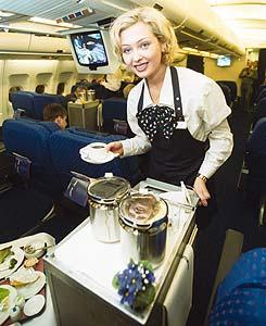 A flight attendant must be in great shape to serve passengers.