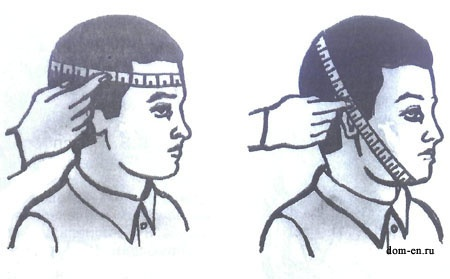 измерение окружности головы.