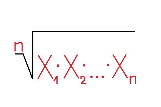 Формула нахождения среднего геометрического