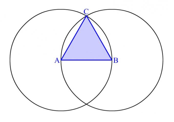 Равносторонний треугольник, построенный с помощью циркуля
