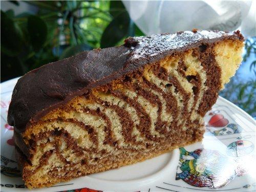 """Пирог """"Зебра"""" - очень вкусный и нежный десерт"""