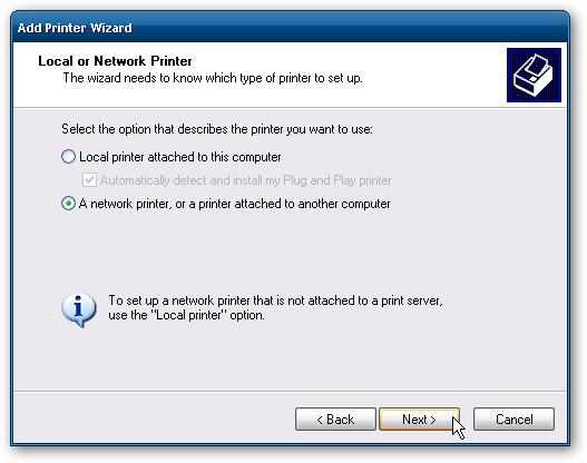 Подключение сетевого принтера.