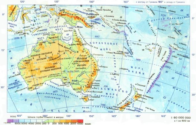 Физическая карта Австралии (шкала высот - внизу)