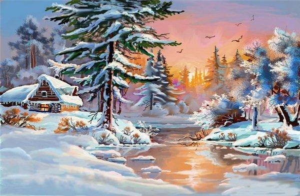 Как нарисовать зимнюю сказку