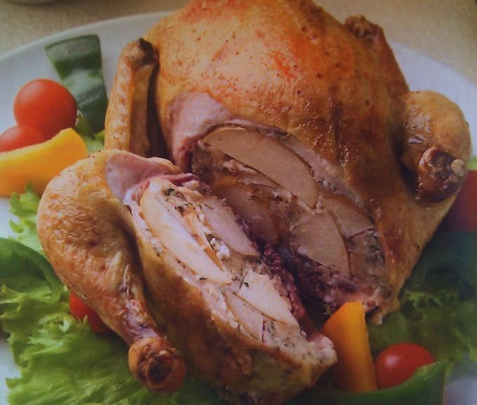 Как приготовить курицу в яблоках