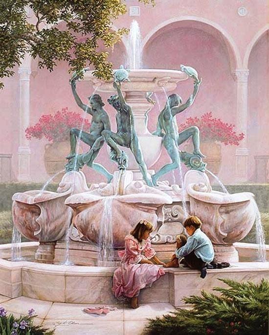 Как нарисовать фонтан