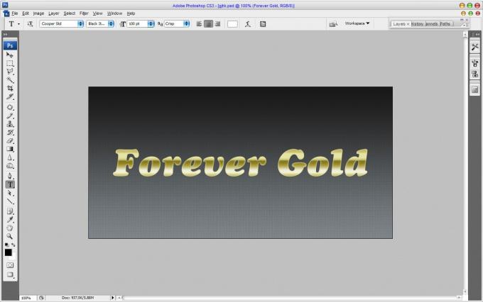Как сделать золотой текст фотошопе