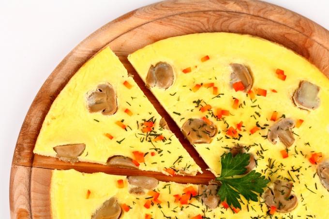 Как запечь омлет с орегано и шампиньонами