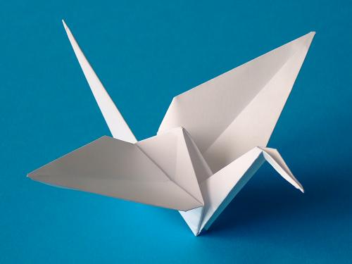 Как сложить журавля из бумаги