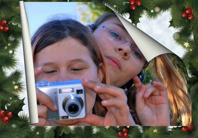 Как вставить фото в новогоднюю рамку