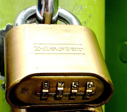 How to open a mounted combination lock