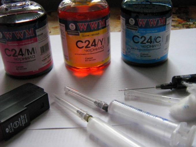 Как заправить цветной катридж в принтере