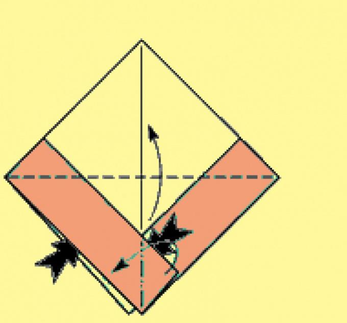 Совместите нижние углы с верхним