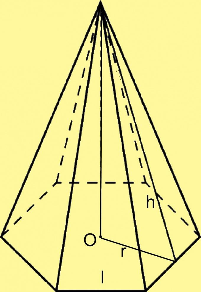 Постройте высоту боковой грани