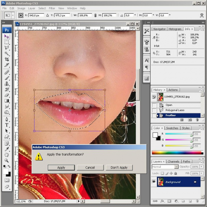 As in <b>Photoshop</b> enlarge <strong>lips</strong>
