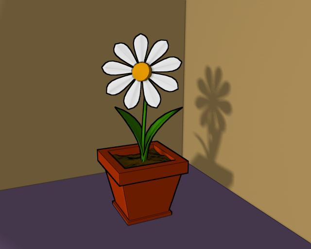 Как нарисовать цветок в горшке