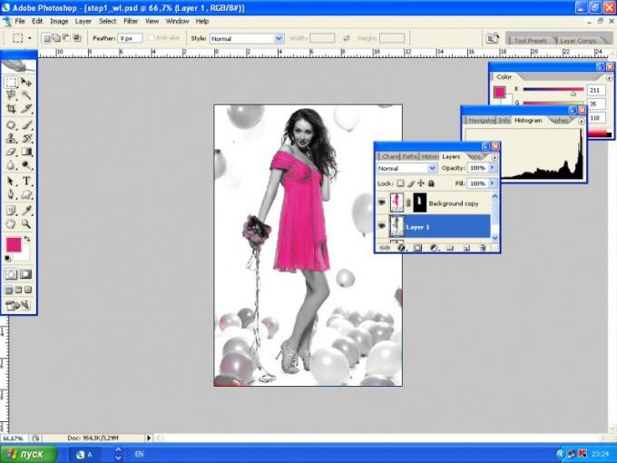 Как выделить цвет в <b>Фотошопе</b> на черно-белом