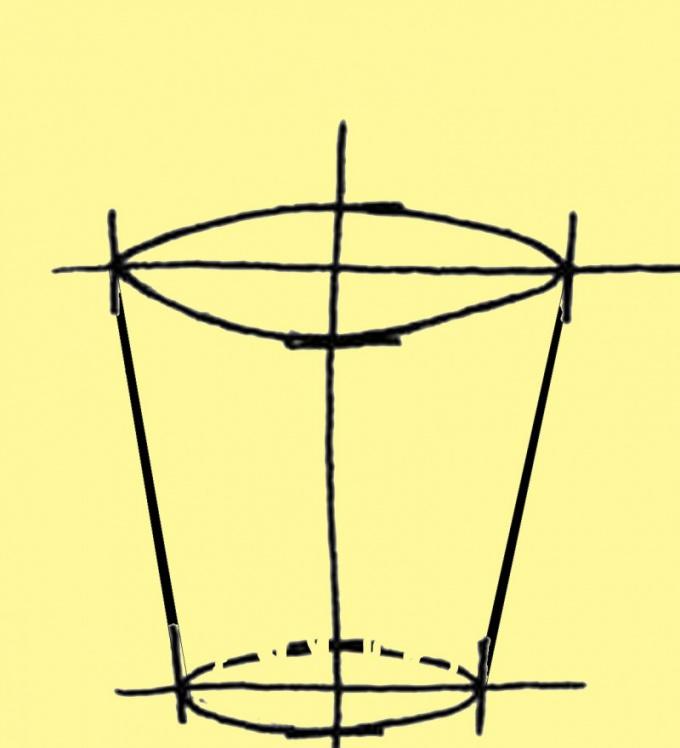 Нарисуйте овал верхней кромки
