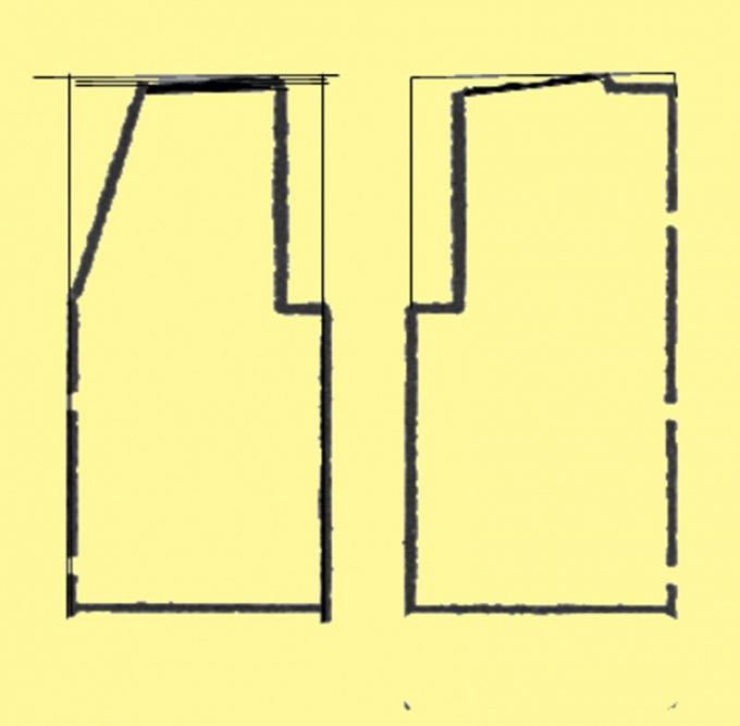 Выкройка жилета строится на основе прямоугольника