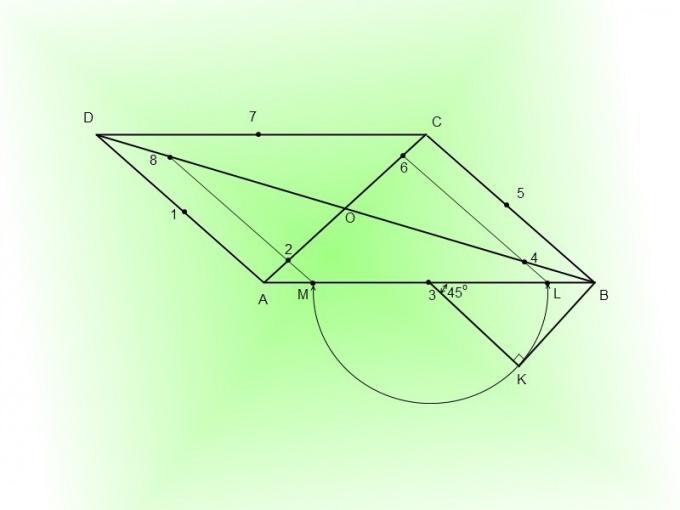 Подметьте точки 2, 4, 6, 8 на диагоналях