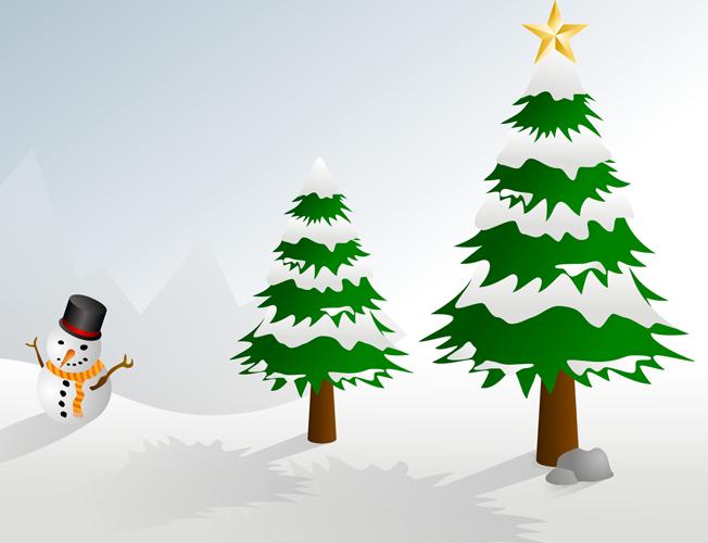 Как нарисовать елку в снегу