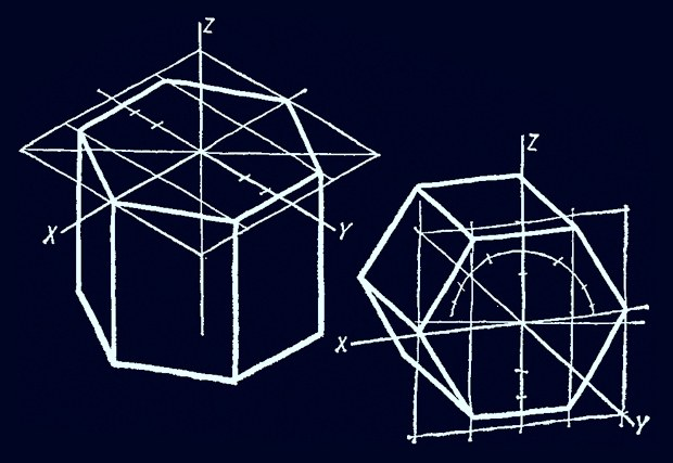 Как начертить шестиугольную призму