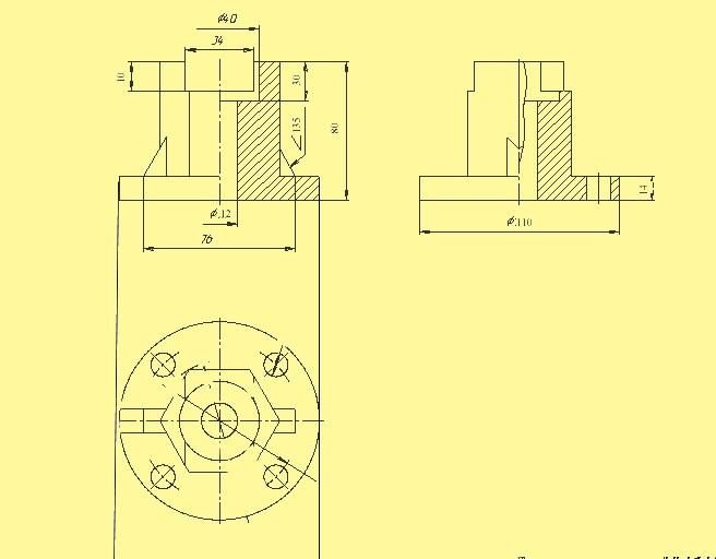 Обнаружьте надобные размеры на 2-й из заданных проекций