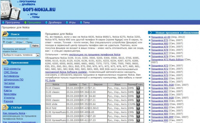 Список прошивок на неофициальном сайте