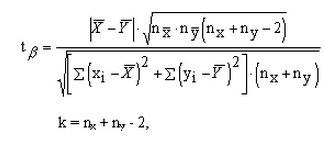 Формула расчета критерия Стьюдента для малых групп