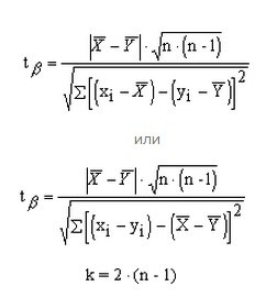 The formula for calculating the pairwise student's t-test for dependent groups