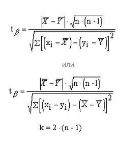 Формулы расчета критерия Стьюдента для попарно-зависимых групп