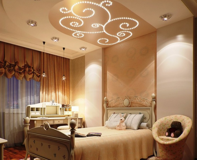 Дизайн потолка при помощи светодиодной ленты