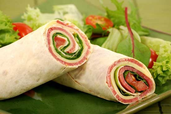 Roll of pita bread with various fillings