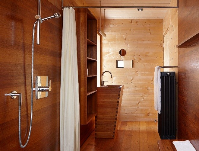 Shower inside a wooden house
