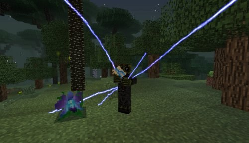A normal lightning strike in Minecraft produces significant changes