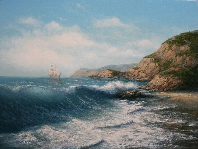 Как нарисовать морской пейзаж красками