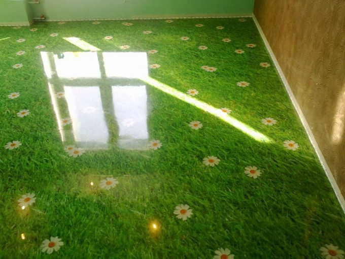 Self-leveling floors with photo printing
