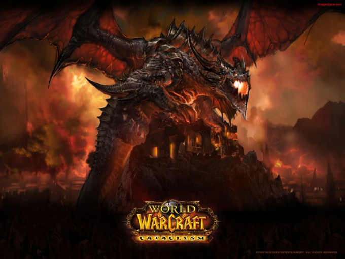 Официальная заставка WoW Cataclysm изображает виновника происходящего - дракона Смертокрыла