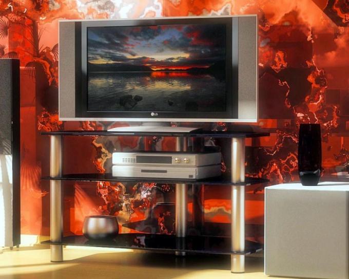 Угловая тумбочка под телевизор позволяет съкономить пространство