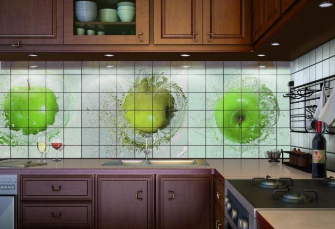 Фотоплитка для оформления фартука на кухне