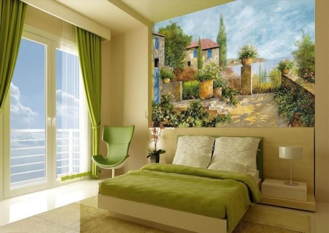 Использование настенной фрески в современном интерьере
