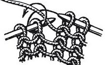 При выполнении изнаночной петли нить набрасывается на спицу