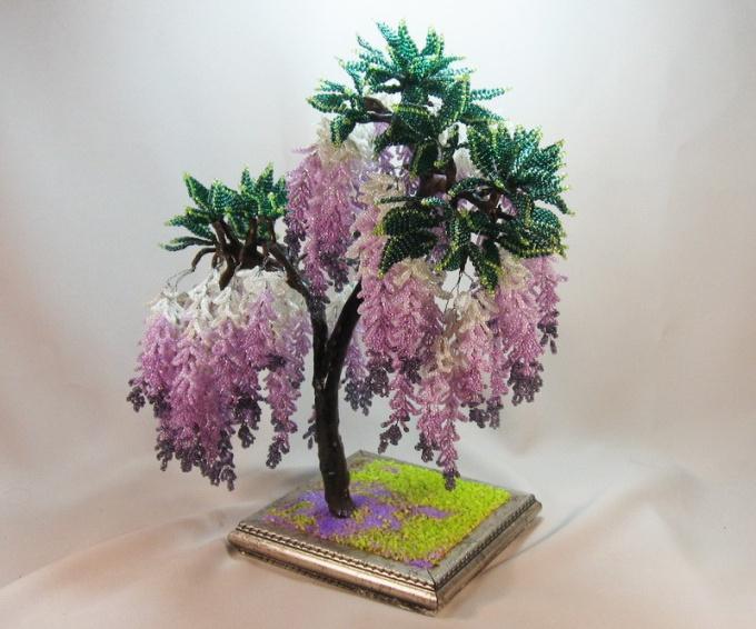 Как делать деревья и цветы из бисера