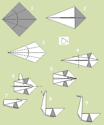 Схема изготовления бумажного лебедя