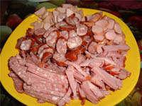 How to chop sausage, ham, frankfurters, wieners.