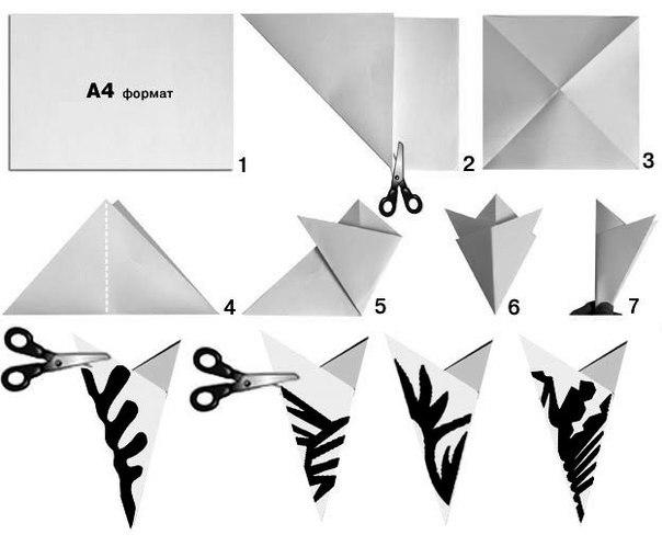 Примеры складывания и вырезания снежинок из бумаги