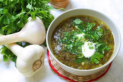 Green soup with sorrel