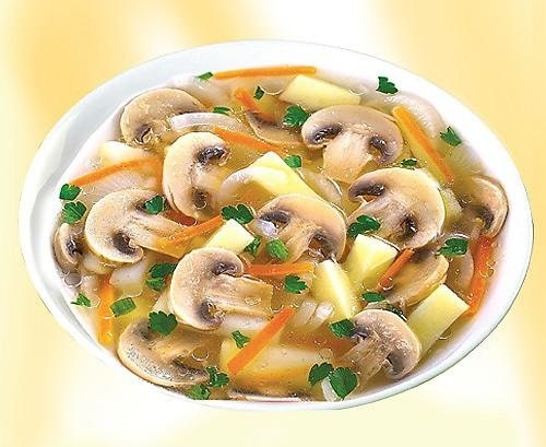 The soup with mushrooms and potatoes