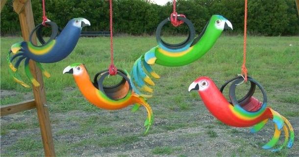 Как сделать из покрышки попугая своими руками