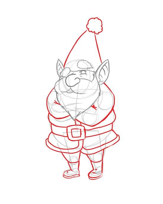 Как нарисовать новогоднего эльфа карандашом